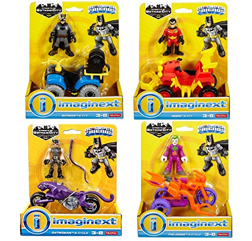 Imaginext, DC Super Friends, Streets of Gotham Hero's vs Villains 4 Pack Battle Pack Including Batman & ATV , Robin & ATV, Joker & Cycle and Catwoman and Cycle