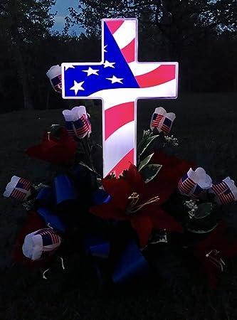 Solar American Flag Cross Perfect Cemetery Decoration For Veterans