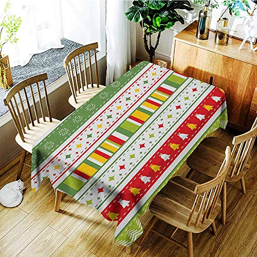 XXANS Tablecloth for Kids/Childrens,Christmas,Set of Traditional Seasonal Borders Stars Bells Trees Stripes Print,Table Cover for Dining,W60X102L Lime Green Yellow Red
