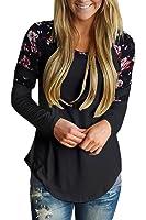 Alvaq Women Long Sleeve Floral Varsity Stripe Tops