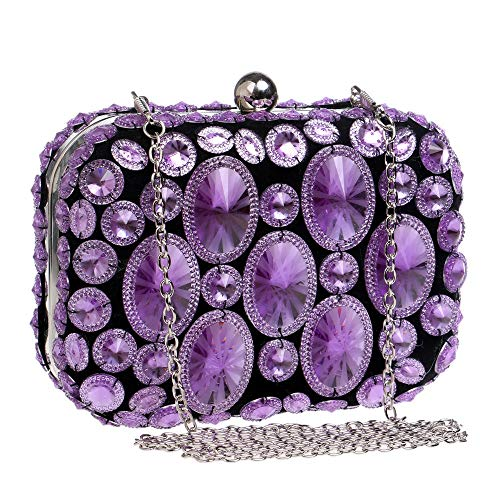 Party Dress Wedding Handbag Womens Purple Party Dinner Bag Bag Purse Purple Clutch Ladies' Bridal Evening Clutch Shiny Diamond Bag Prom Color 8A8qfzwB