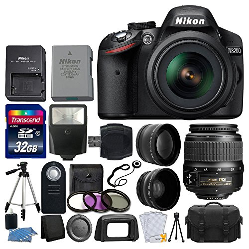 Nikon D3200 24.2 MP CMOS Digital SLR Camera (Black) 18-55mm f/3.5-5.6G ED II AF-S DX Zoom Autofocus Lens + 2x Professional Lens + HD Wide Angle Lens + 32GB Bundle International Version (No Warranty) (Nikon Cameras D3200)