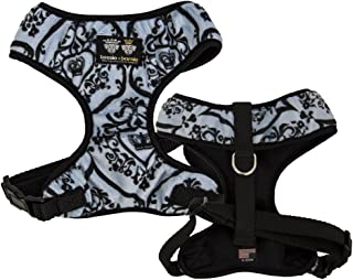 product image for BESSIE AND BARNIE Mesh Luxury Versailles Blue/Black, Pet Dog Durable Adjustable Harness