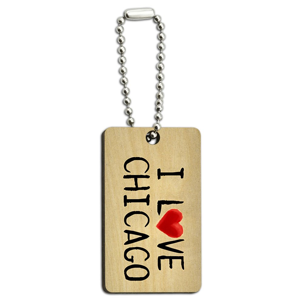 I Love Chicago Written on Paper Wood Wooden Rectangle Key Chain