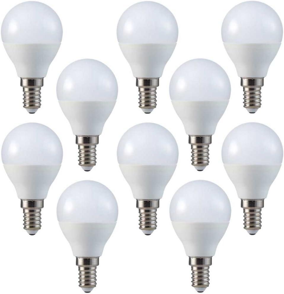 V-TAC Conjunto de 10, E14, P45, 4W, Blanca Fria 6400K, 230 voltios, 320 lm, 180 ° de ángulo de haz, equivalente 30W