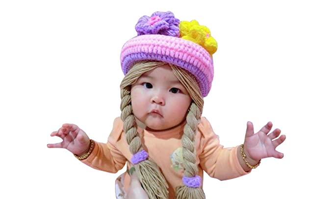 441def9b3a8 Justkiddings Disney Princess Anna Elsa Knit Baby Girl hat Wig with Braid  (Purple Small)
