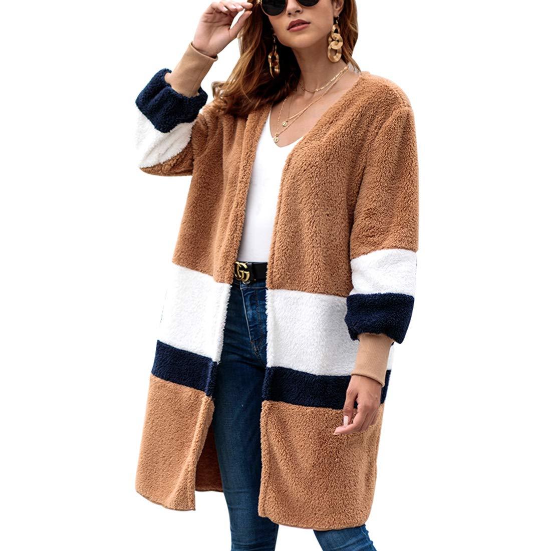 Belgius Womens Open Front Loose Fleece Sherpa Jacket Contrast Color Cardigan Coat