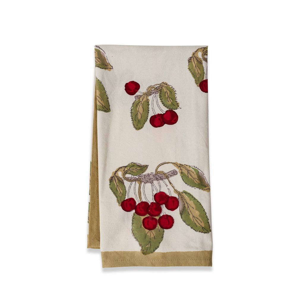 Couleur Nature Cherry Red/Green TeaTowels 20c30, Set of 3 by Couleur Nature