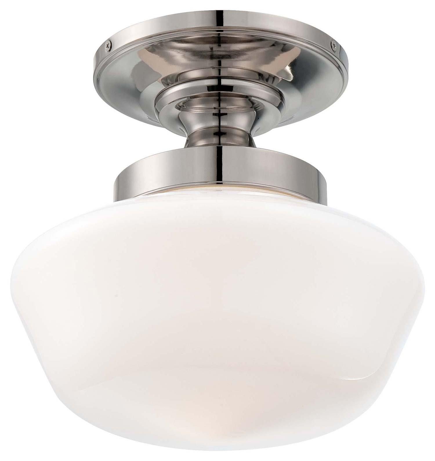 Minka Lavery 2255-613, Semi Flush Mounts Glass Semi Flush Ceiling Light, 1LT, Polished Nickel