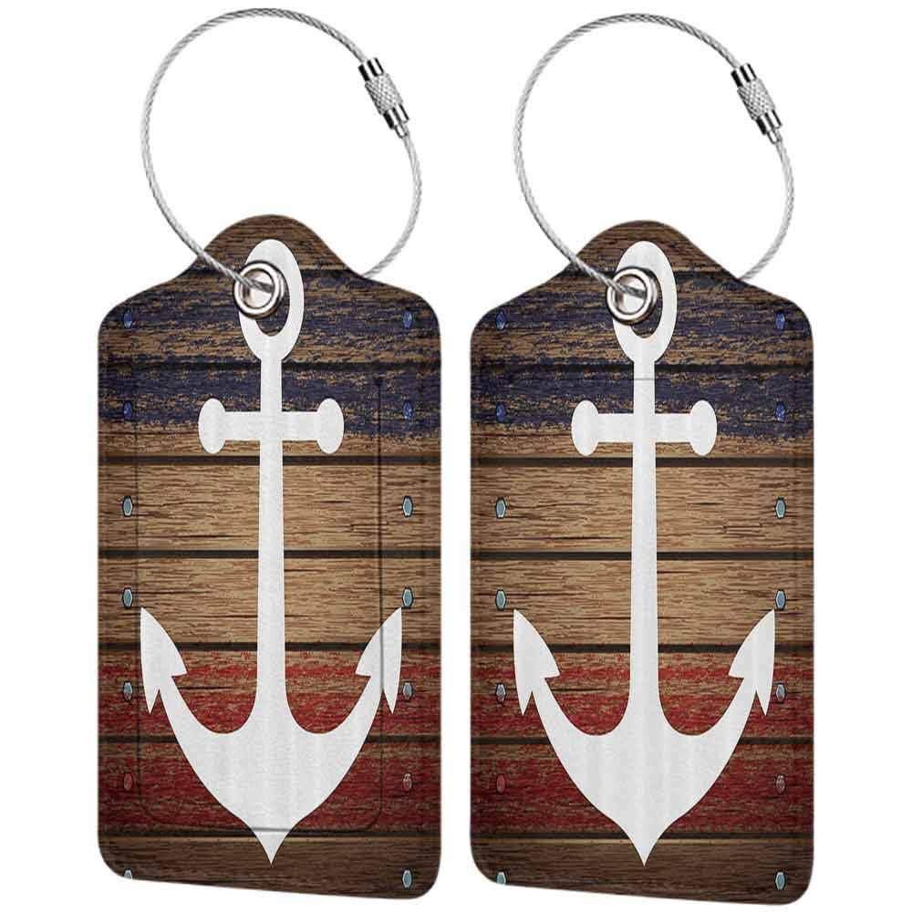 Modern luggage tag White Boat Anchor Marine Nautical Antiqued Rustic Wooden Western Art View Red White Blue and Brown Coasta Suitable for children and adults W2.7 x L4.6