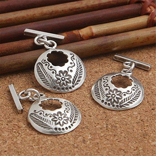 (Luoyi Vintage Style Thai Silver Ring Toggle & T Bar Clasps (C016Y))