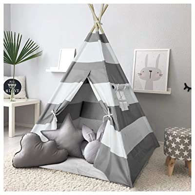 Kids Teepee Tent for Kids Play Teepee Tent for Boys Indoor Outdoor Play House, Kids Teepee Play Tent for Boys,Canvas Tipi Tent Kids,Grey Stripe Teepee: Toys & Games