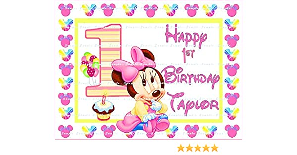Incredible Minnie Mouse Baby 1St Birthday Personalized Edible Image Cake Funny Birthday Cards Online Kookostrdamsfinfo