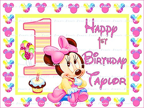 MINNIE MOUSE BABY'S 1ST BIRTHDAY: Personalized edible image Birthday Party Cake topper decoration premium frosting sheets