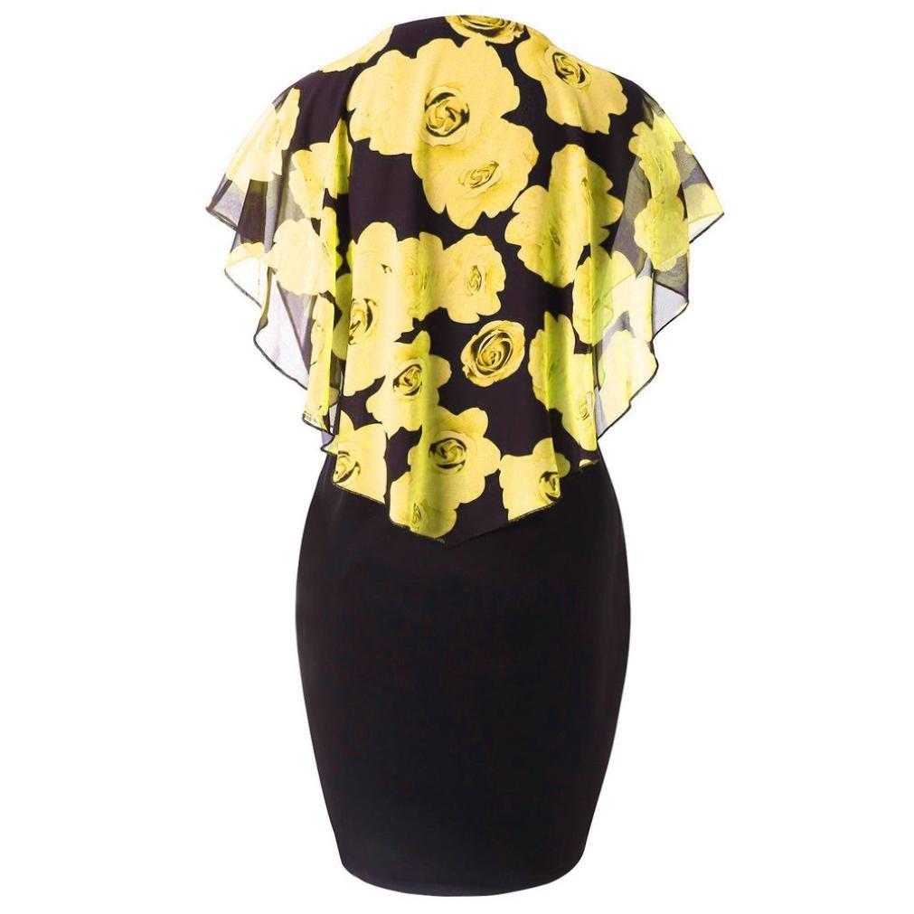 DongDong Ladies Casual Dress Plus Size Rose Print O-Neck Ruffles Mini Dress