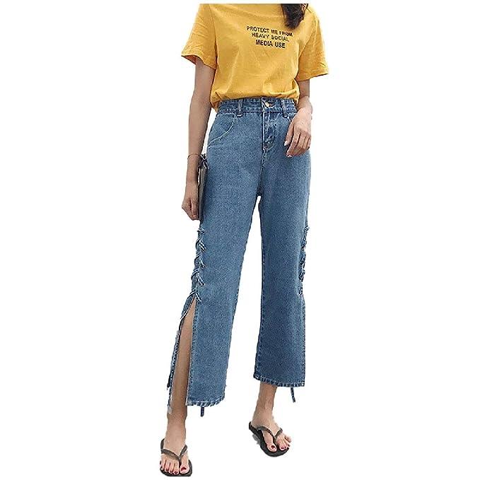5348a92994c RDHOPE-Women Washed Strappy Denim Tenths Pants Wide Leg Split Jeans Dark  Blue M