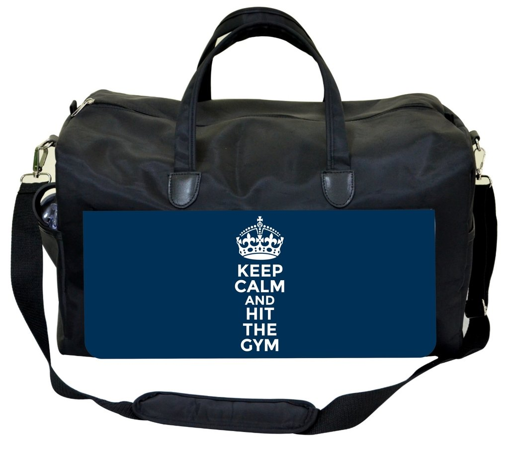 Jacks Outlet Keep Calm and Hit The Gym-Blue Gym Bag