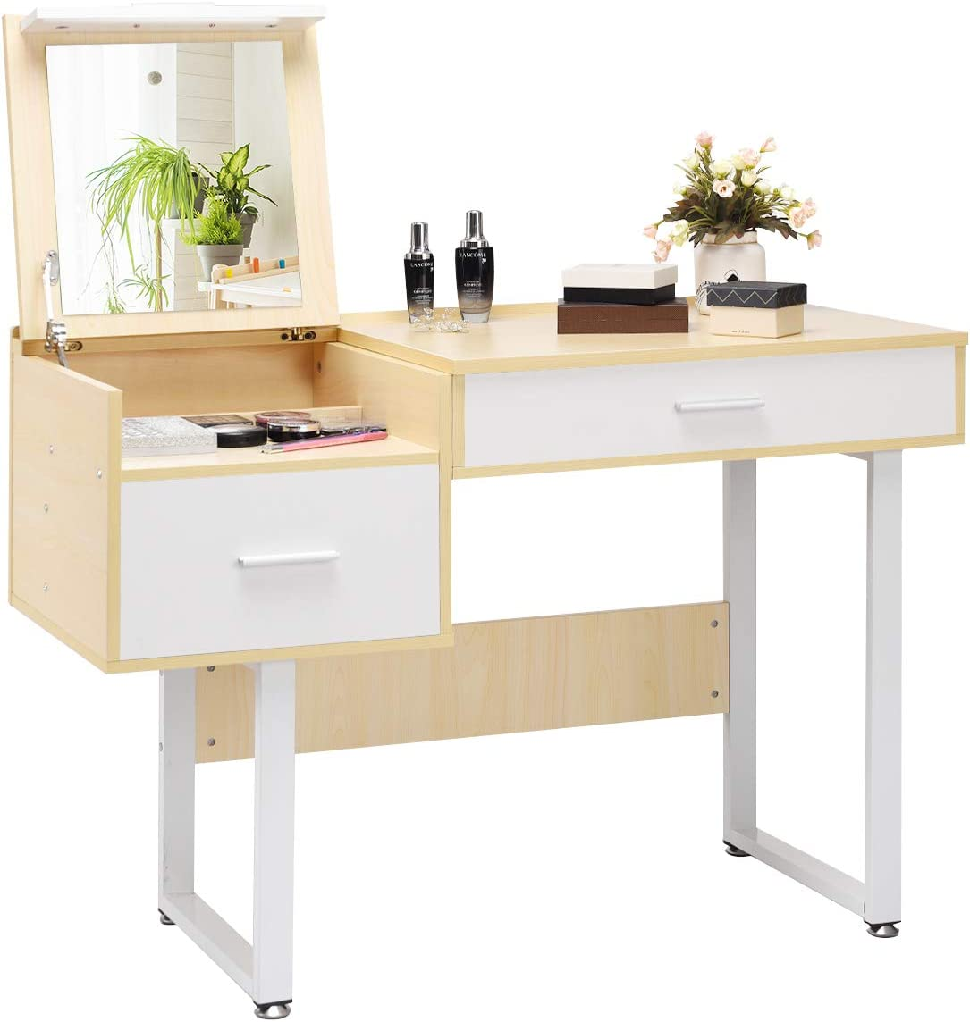 Charmaid Makeup Table Writing Desk With Flip Top Mirror Vanity Table With 5 Storage Compartments Dressing Table Computer Laptop Desk With 2 Large Drawers For Students Girls Women Kitchen Dining