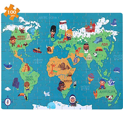 NEILDEN Jigsaw Puzzle,100 Piece Puzzles for Kids Age 4-8,Educational Learning Puzzles for Children Boys and Girls,Packed with Tin Box,Puzzle Size:11.2