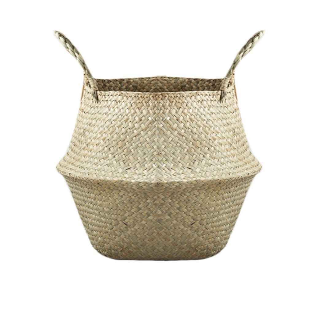 Natural Seagrass Woven Storage Pot Foldable Garden Flower Vase Hanging Basket Holder Omkuwl
