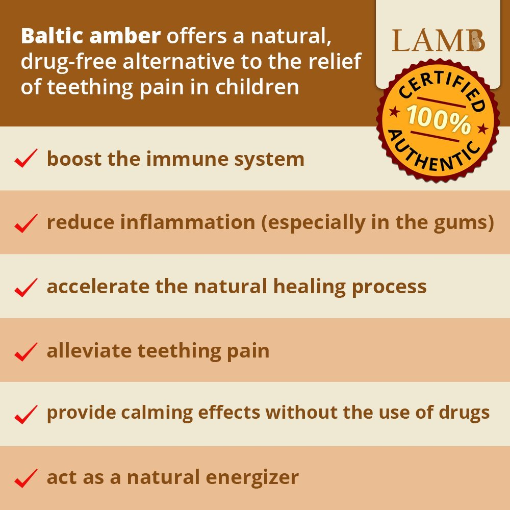 LAMB Certificate Of Authenticity Included Best Baltic Amber Teething Necklace For Baby Honey - Alternative To Teething Toys