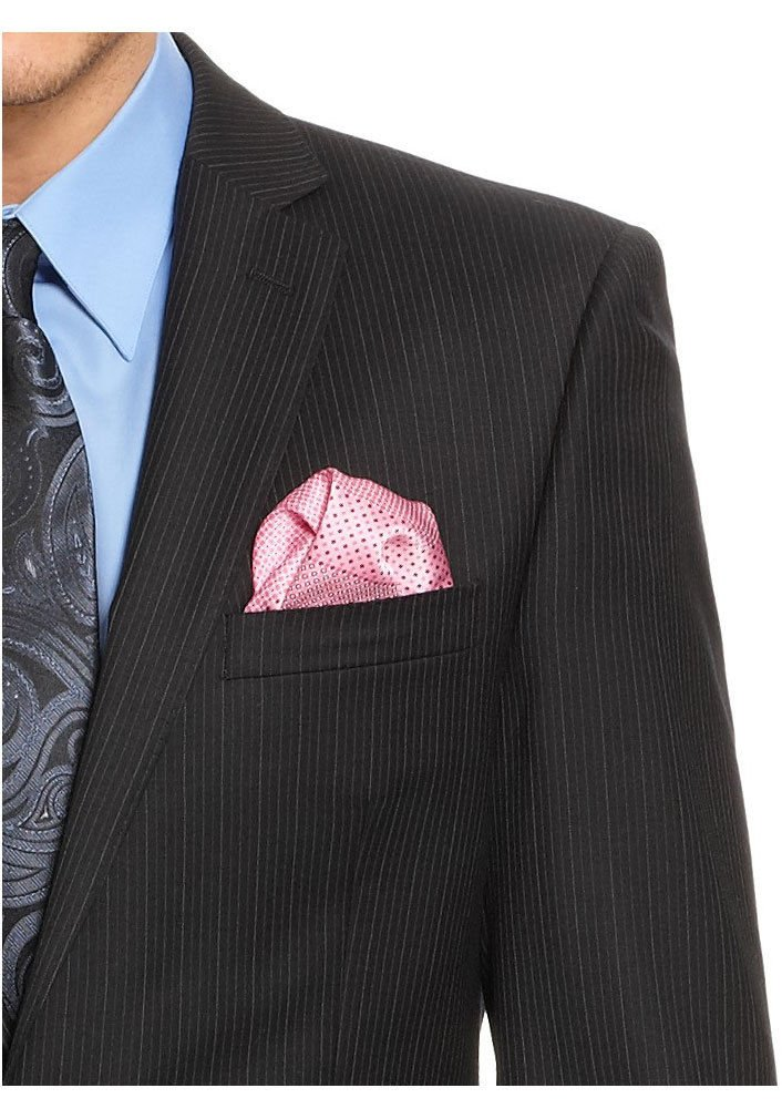 Calvin Klein Slim Fit Black Pinstriped Two Button Wool Suit