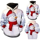 Homme Sweat Imprimé Col Rond Noël Sweatshirt Full Print Pere Deco Renne Arbre Noel Motif Shirt Pull Christmas Sweat-Shirt