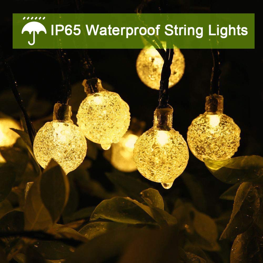 Solar String Lights Outdoor, Cshare Garden Light Bulbs 50 LED 23Ft 8 Modes Waterproof Garden Crystal Ball Decorative Fairy Lights for Garden, Yard, Home, Christmas Tree, Birthday Party(Warm White)
