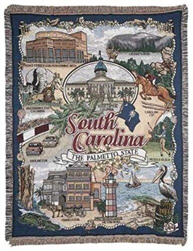 "South Carolina ""The Palmetto State"" Tapestry Throw Blanket 50"" x 60"" SKU RTP042720"