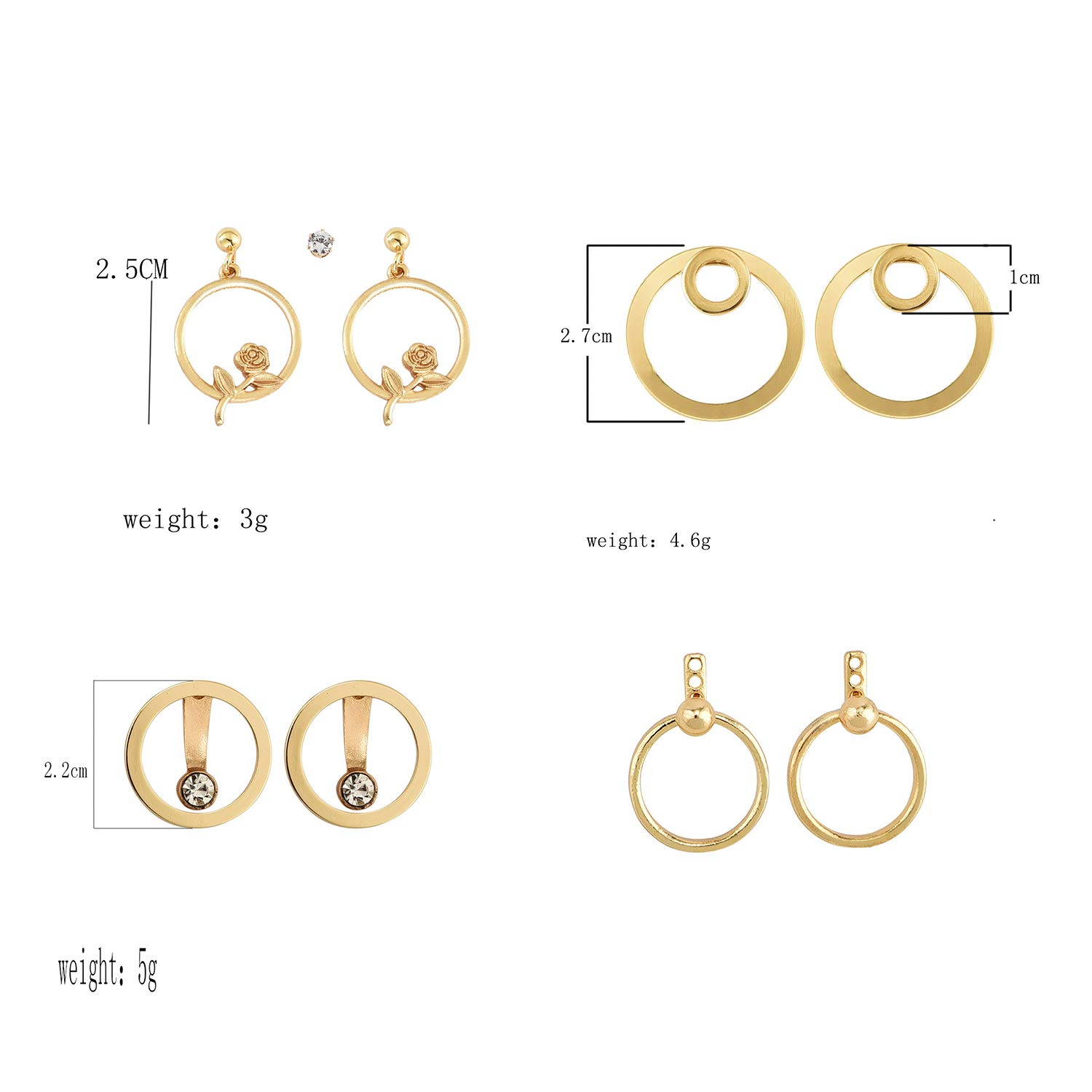 VZBarn 9 Pairs Multi-Color Disc Round Stud Earrings Dainty Circle Earrings Studs for Women