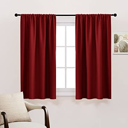 GIAERD Set of 2 Thermal Insulated Blackout Curtain Panels Rod Pocket,Room Darkening Window Treatment