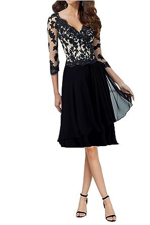 2f274b717f2711 Avril Dress Classy Formal Prom Dress V-Neck 3/4 Sleeves Lace Chiffon ...
