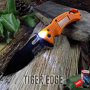 SPRING ASSIST FOLDING POCKET KNIFE Mtech Emergency Orange Solar LED Flashlight razor sharp + FREE eBOOK by MOON KNIVES!