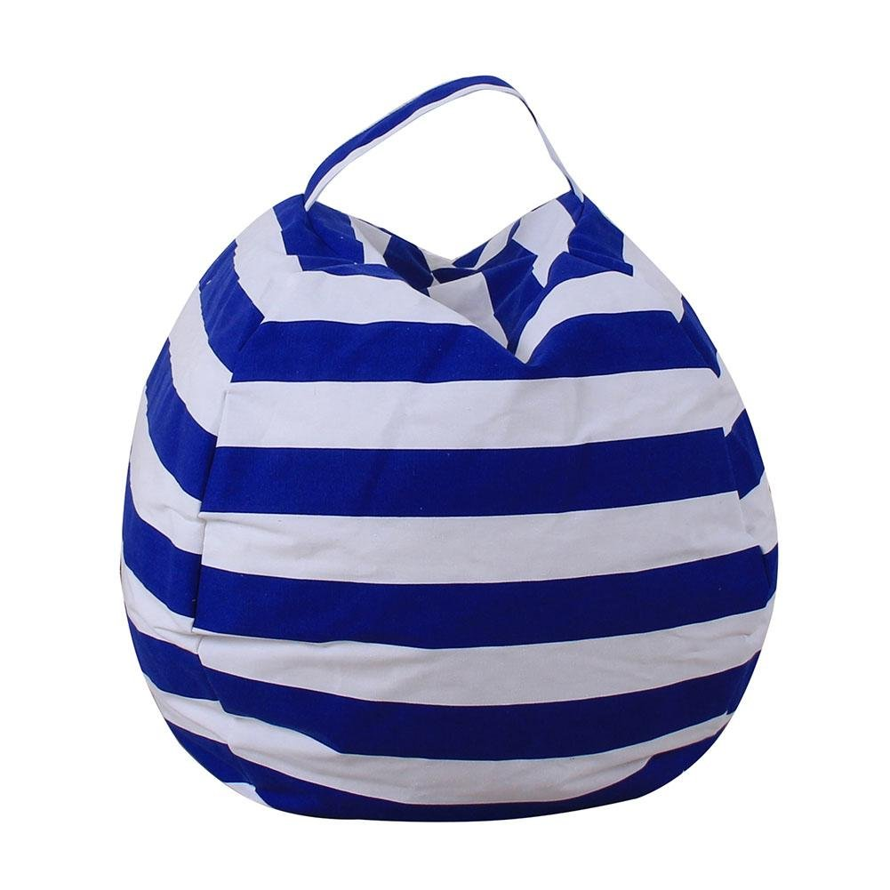 Matefielduk Canvas Stuffed Toy Bag Foldable Clothes Storage Bean Bag(Royal Blue/S)