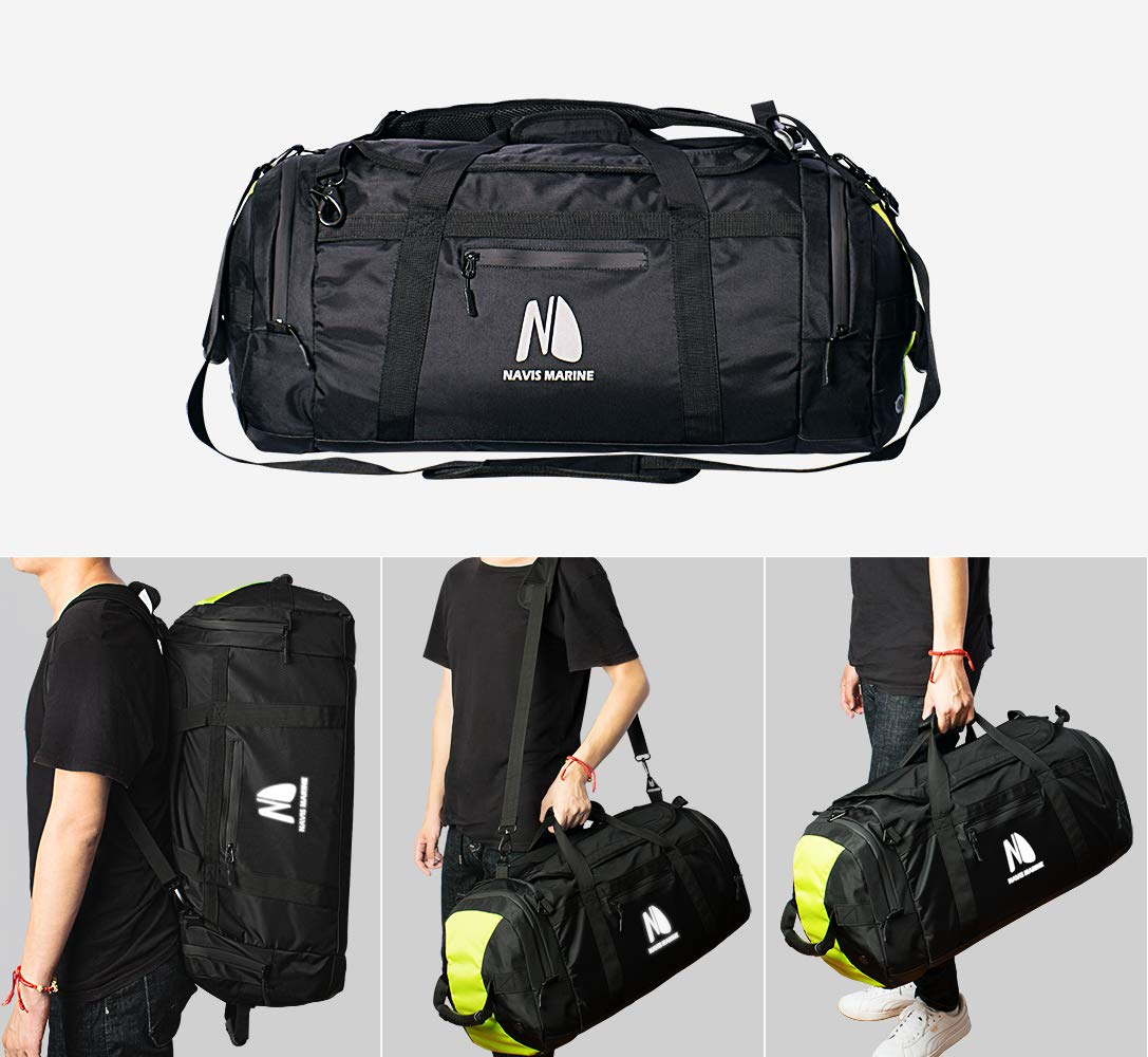 Waterproof Duffel Backpack Boarding Bag for Men Women 3-Way Sports Gym Bag with Shoe Compartment Travel Luggage Bags 50-Litres Black Fluorescent