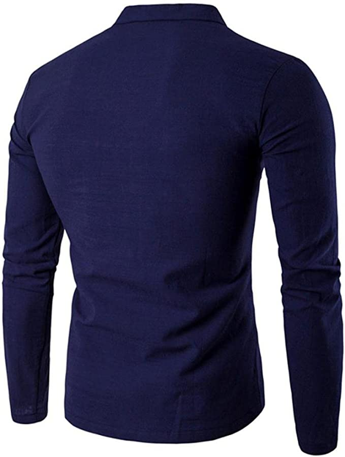 Mens V-Neck Polo Casual Long-Sleeve Slim Fit T-Shirts Tops