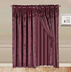 """Sapphire Home 2 Panel Window Curtain Set (120"""" W x 84"""" L) with Valance and Sheer Backing and 2 Tassels - Faux Silk Shiny Curtain Set - Rod Pocket Drapes - Leaf Floral Design Curtain - Burgundy"""