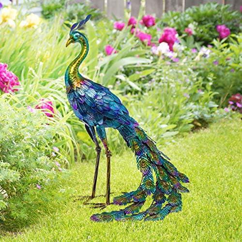 Alpine Corporation JUM208 Metallic Peacock Statue Outdoor Garden