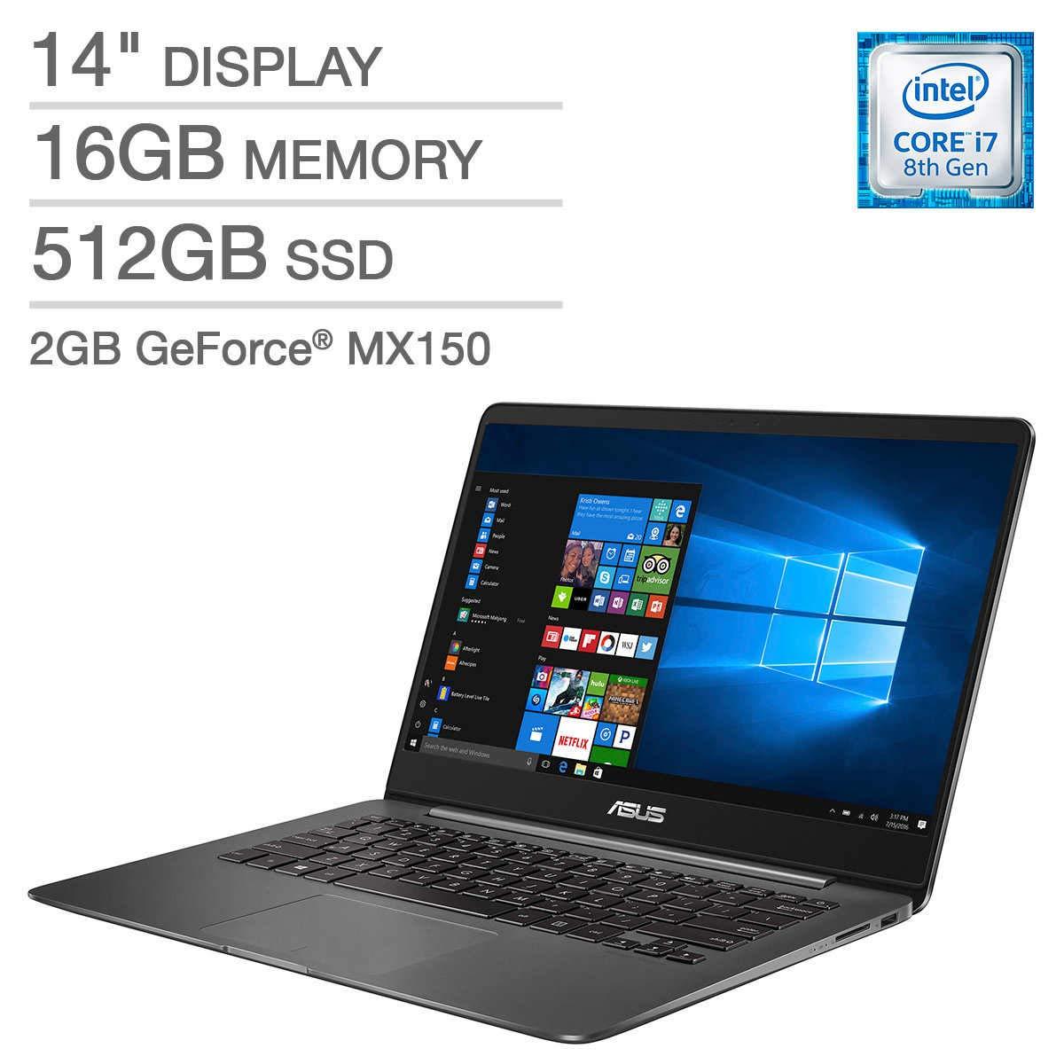 ASUS ZenBook UX430UN Laptop - Intel Core i7 - GeForce MX150 -1080p, 16GB LPDRR3 RAM, 512GB SATA M.2 Solid State Drive, Model UX430UN-IH74-GR