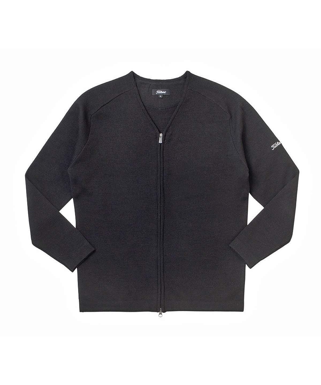 タイトリスト TITLEIST 中間着(セーター、トレーナー) Vネックフルジップセーター L ブラック B07HX26K5V