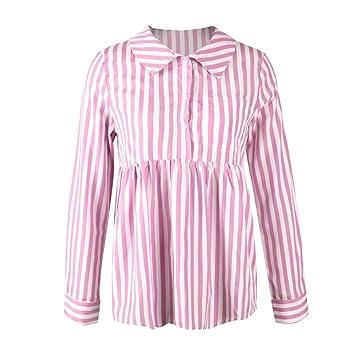 Mujer blusa manga larga,Sonnena ❤ Camiseta superior casual a rayas de las mujeres