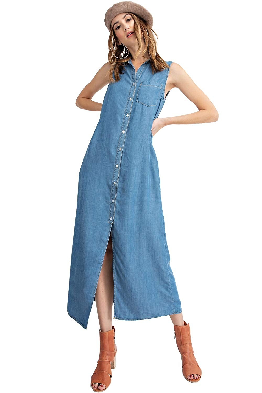 a6502f99cc8 Anna-Kaci Classic Sleeveless Blue Jean Button Down Denim Pocket Collar Shirt  Dress at Amazon Women s Clothing store