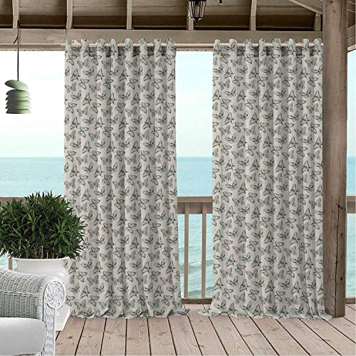 Linhomedecor Patio Waterproof Curtain Spring Earthy Tone Damask Stencil Swallowtail Butterfly and Skippers Figures Reseda Green and Eggshell Porch Grommet Patterned Curtains 72 by 84 -