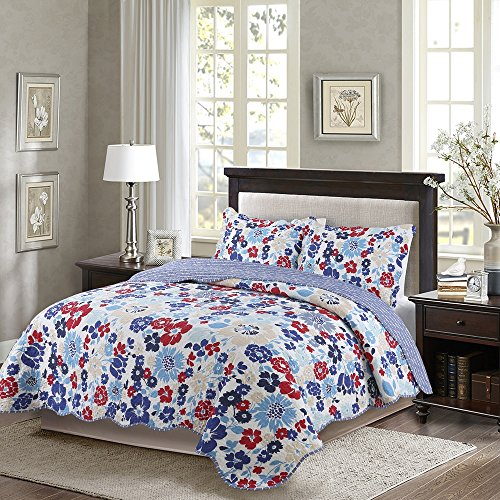 Disperse Printing Quilt Set Queen/Full Size -3-Piece Bedspread -Microfiber Blue Paulo Coverlet Set