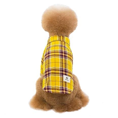 Dkings Camisa de Perro, Mascota Plaid Polo Camisa de la Ropa Gato ...