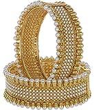 Bling N Beads Golden Pearl Bangle Set (Pair Of 2) For Women
