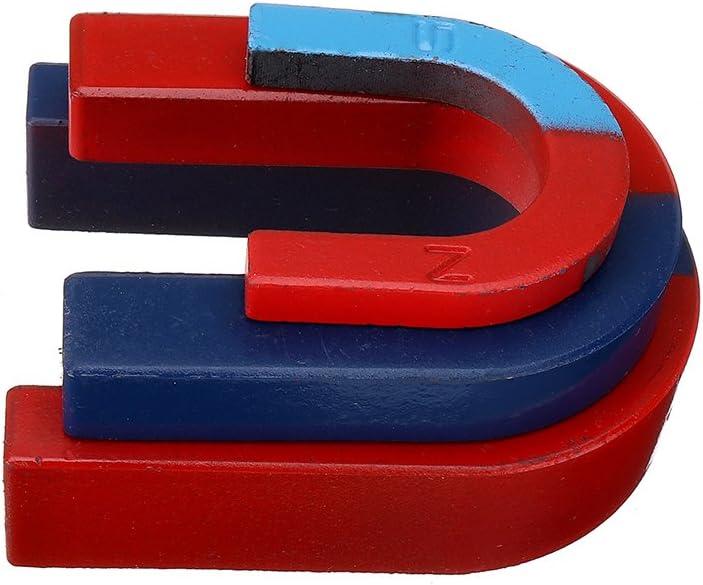 Sonsan - Juego de 3 imanes de herradura en forma de U, pintados en rojo, azul, para experimentos físicos