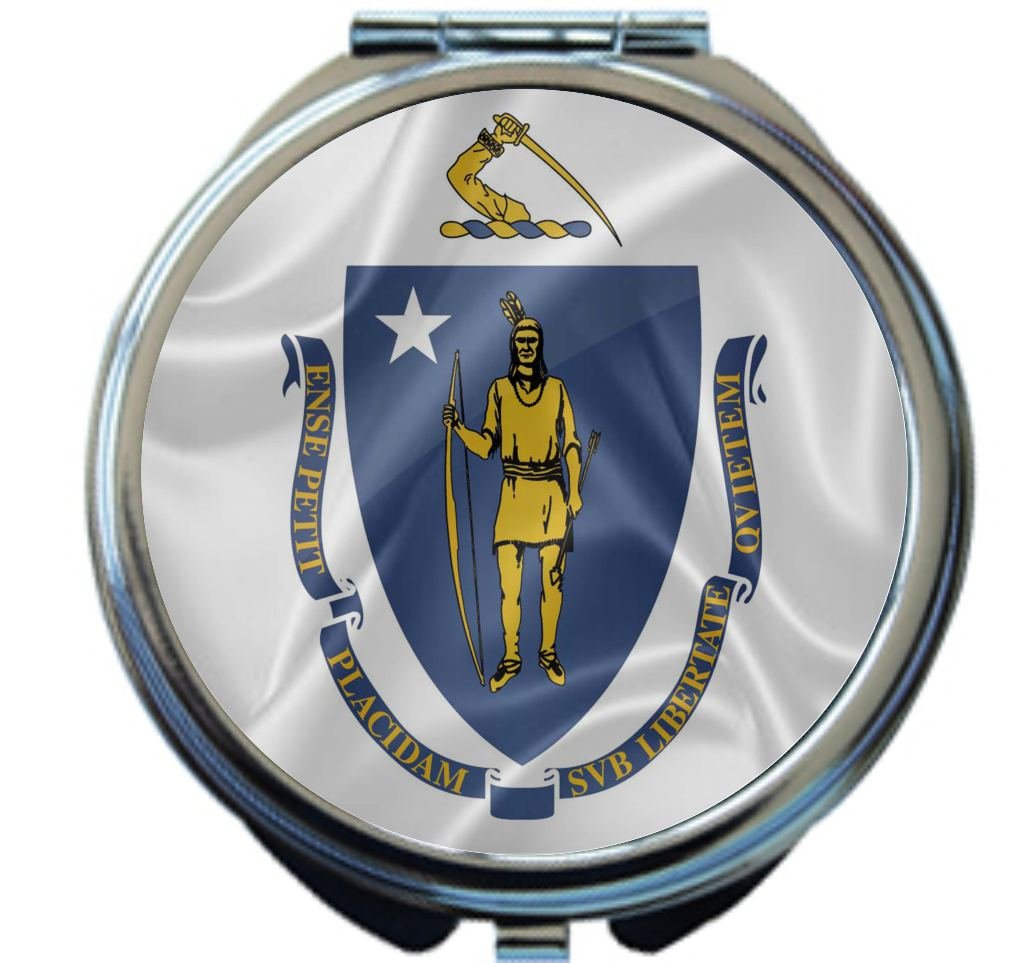 Rikki Knight Massachusetts State Flag Design Round Compact Mirror