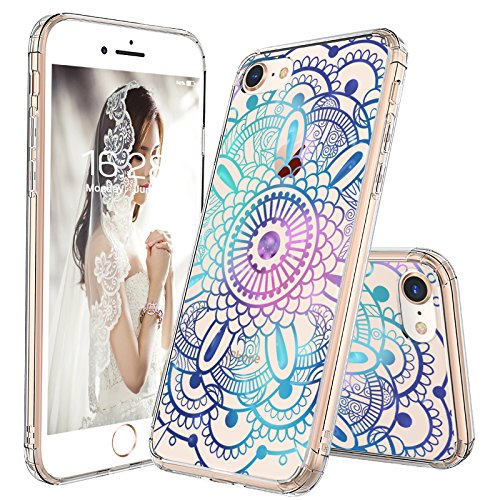 iPhone 8 Case, iPhone 7 Case, MOSNOVO Gradient Galaxy Mandala Printed Clear Design Transparent Plastic Hard Slim Back with TPU Bumper Protective Cover for Apple iPhone 7 / iPhone 8 (4.7 Inch)