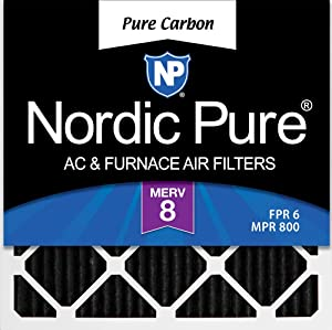 Nordic Pure 20x20x1 Pure Carbon Pleated Odor Reduction AC Furnace Air Filters, 3 PACK, 3 Piece